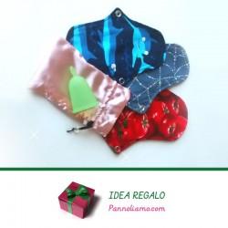 Idea regalo-coppetta mestruale e assorbente lavabile